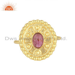 Natural Pink Tourmaline Gemstone Gold Plated Silver Rings