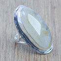 Golden Rutile Gemstone Jewelry 925 Sterling Silver Ring