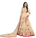 Women's Beige Color Wedding Wear Zari and Resham Embroidery Semi-Stitched Anarkali Suit