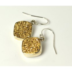 Golden Druzy Bezel Set Gemstone Earring