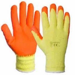 Orange Rubber Coated Gloves