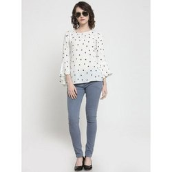 Round Neck Casual Ladies Polyester Printed Top, Size: S-XL