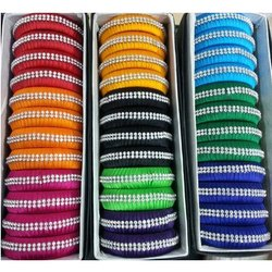 Girls Trendy Silk Thread Stone Bangles