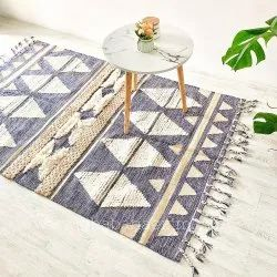 Moroccan Designer Rugs Cotton Boho Area Rugs Floor Denim Color Kilim Carpet Mats