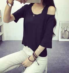 Strapless Short Sleeve Loose T-Shirt, Size: L and XL