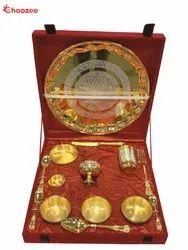 Gold Plated Brass Bhojan Thali Set (14 Pcs)