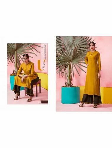9746fb9d2b Maa Indian Fashion Women's Rayon Kurti with Palazzo Set, Plazzo Suit ...