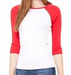 MJW Round 3/4 Sleeve Ladies T Shirt, Size: S-XXL