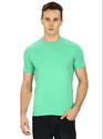 Pintapple Solid Mens Round Neck Light Green T-Shirt