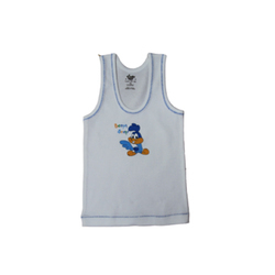 White Cotton Baby Looney Tunes Sandow Vest, Pattern : Plain with Cartoon Printed