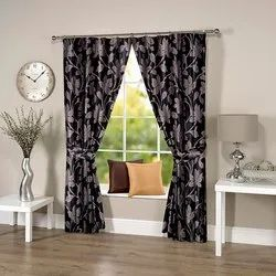 Abstract Flowery Black Grey Curtain