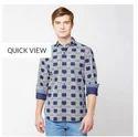 Blue 06a Printed Poplin Checks Full Sleeve Trim Fit Shirt