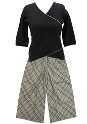 Lavanya Check Palazzo With Black Cotswool Diagonal Top