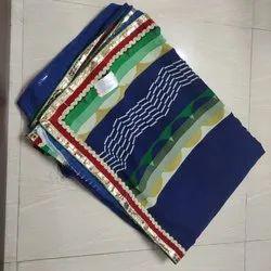 Formal Wear Pankaj C Border Blue Saree With Blouse Piece