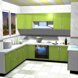 PVC U Shape Modern wooden modular kitchen, Warranty: 1-5 Years