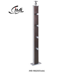 Rectangle Wooden Staircase Steel Baluster