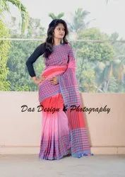 Ladies Cotton Handloom Ikkat Saree, Packaging: Box