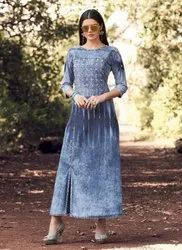Denim Designer Long Kurtis