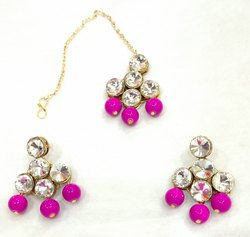 Pink Angel creations Trendz Kundan Earring, Shape: Round