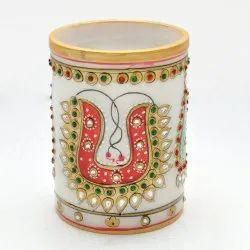 Diwali Gift Marble Decorative Pen Stand