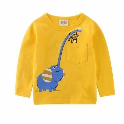 Round Yellow Kids Full Sleeves T-Shirt