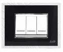 3 Module Black And Silver Modular Switch Plate
