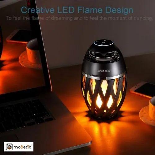 Mobeeta Black Flame Atmosphere Lighting, Led Flame Lamp Bluetooth Speaker