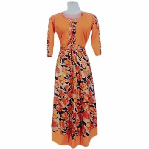 Lycra Fabric Printed 3/4 Sleeves Orange Ladies Floral Dress