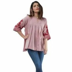 Sleeves Embroidery Ladies Tunic Top