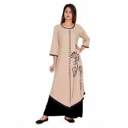 Brown and Black Cotton Flex Kurti