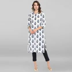 Janasya Women's White Pure Cotton Kurta