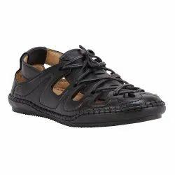 Daily Wear Shences Mens Designer Black Leather Sandals, Size: 6-10