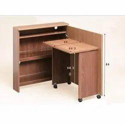 InnnoFur Teak Wood Brown Wooden Outlet Shelf Learning Table