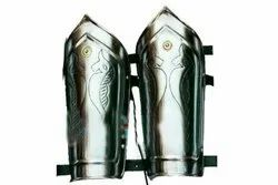 Designer Steel Hand Arm Guard in Silver Metal with Leather Strips Halloween Party Costume