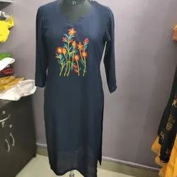 3/4th Sleeve Casual Wear Embroidered Kurti