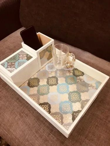 Bed Side Tray With Gold Leafing On Digital Lrint