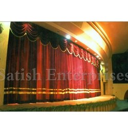 Red Motorized College Curtains