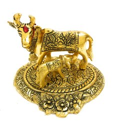 Gold Plated Cow with Calf Statue