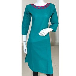 3/4th Sleeve Plain Cotton Kurti