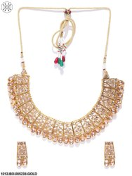 Priyaasi Sparkling Gold Plated Kundan Collar Necklace Set With Matching Drop Earrings