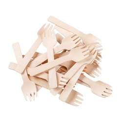 Birchwood brown Somani Disposable Wooden Fork 100 mm, For Event and Party Supplies