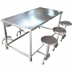 Stainless Steel Silver SS Cafeteria Chairs and Tables, Size: 6 X 3 Feet