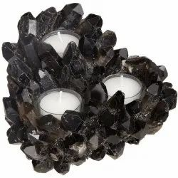 Black quartz candle holder