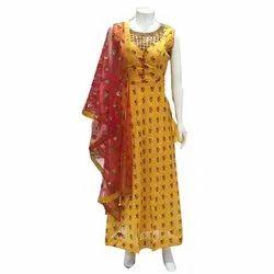 Ladies Chanderi Cotton Long Suits, Machine wash
