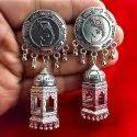 Oxidized Gayatri Yantra Stud Earrings With Om Jhumka Engraving
