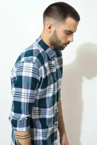 Green Hill Mens Checks Shirt