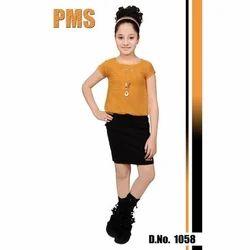 Yellow and Black Party Wear Fancy Girls Western Dress