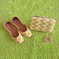 Yellow Handcrafted Clutches With Matching Jutti