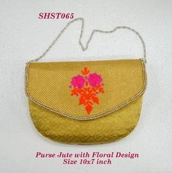 Purse Jute with Floral Design