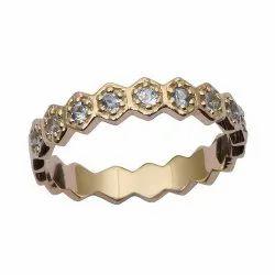Eternity Style 9k Fine Gold Blue Topaz Gemstone Women Engagement Ring
